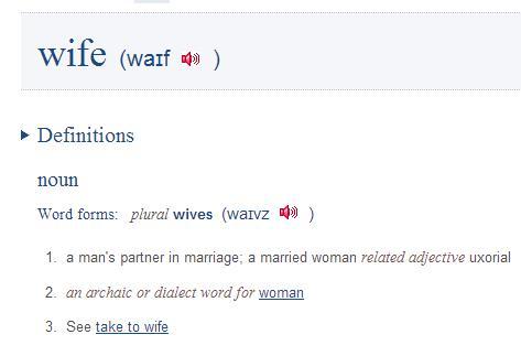 """Множественное число существительного """"wife"""" в словаре Collins"""